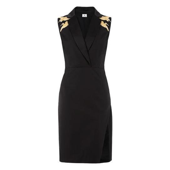 blk dress gold shoulder